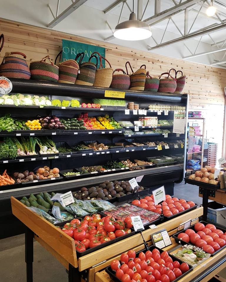 baskets and produce